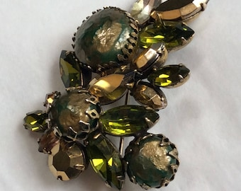Regency brooch - lovely subtle green colours - signed