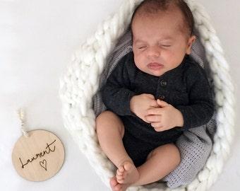 CUSTOM Baby Plaque - Heart - Nursery Decor - Wood - Newborn Gift - Photography Props