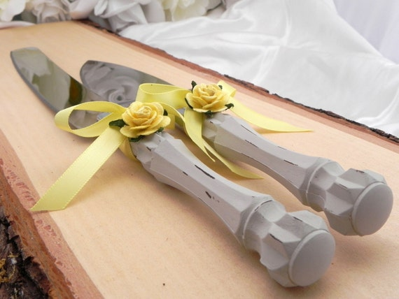 Shabby Chic Wedding Cake Server And Knife Set, Light Grey and Yellow, Bridal Shower Gift, Wedding Gift