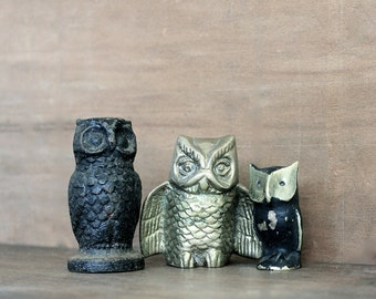 Hoot - Vintage Collection of Owls - Instant Collection - Brass - Cast Iron - Birds - Black - Gold - Woodland - Forest