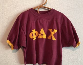 Vintage 1960's 1970's Women's Large Burgundy Red & Gold College Frat Animal House Tee Crop Top Belly Shirt Sorority Fraternity