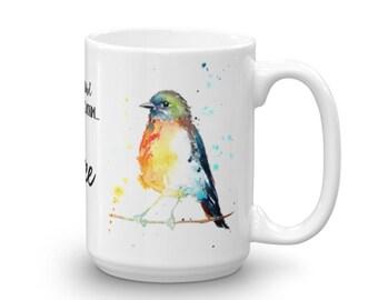 Colourful Robin Bird Mug early bird can have the worm I'll take coffee