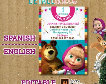 Masha And The Bear Birthday Party Invitation - Masha And The Bear Digital Printable DIY Invitation - Masha And The Bear