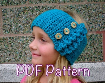 PATTERN:  Ruffle Ear Warmer, Size Toddler thru Adult, winter head band, buttons, easy crochet PDF, ski, InStAnT DoWnLoAd, Permission to Sell