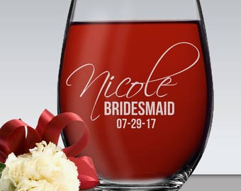 Etched Stemless Wine Glasses, Personalized Wine Glass, Custom Wine Glasses, Bridesmaid Gift, Bridesmaid Stemless Wine Glasses Personalized