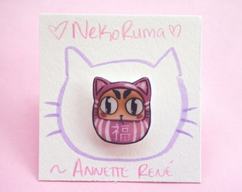 Nekoruma pin! Cat pin, Daruma pin, Japanese pin, Bodhidharma, Asian pin, plastic pin, kawaii pin, lapel pin, handmade pin, artist pin, Japan