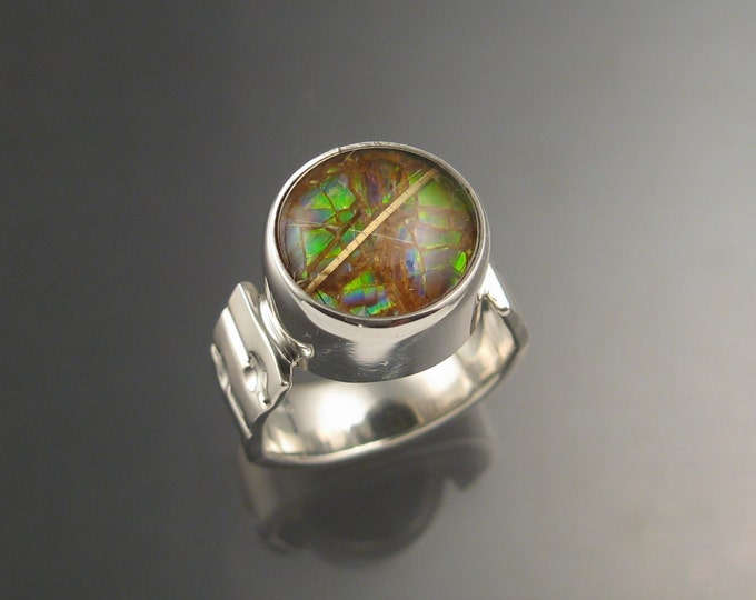 Ammolite and Rutilated Quartz Doublet ring Sterling silver size 6.5 Opal substitute Handmade Ring
