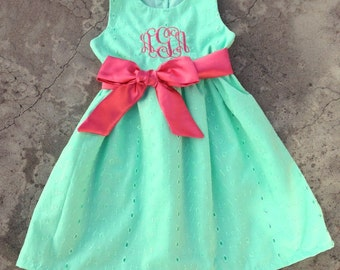 Monogrammed Baby girl clothes Personalized Baby Girls Dress  Mint Green Coral Easter Dress, toddler girl outfit, Personalized girl clothes