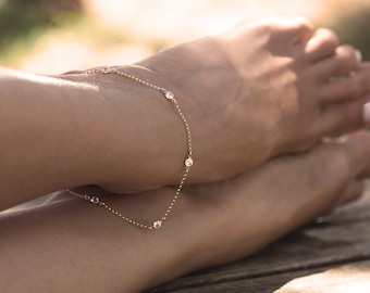 Cz Diamond Anklet, Delicate Gold Filled Anklet, Diamond Anklet Bracelet, station diamond anklet, bridesmaids gift, bridesmaids bracelet