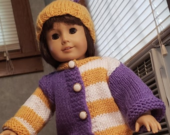 Hand knitted 18 Inch Doll Sweater and Hat