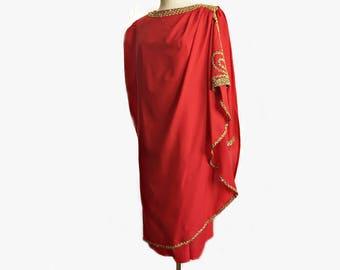 Vintage 80s red caftan dress/ sequined gold trim appliqué/ tunic dress/ large