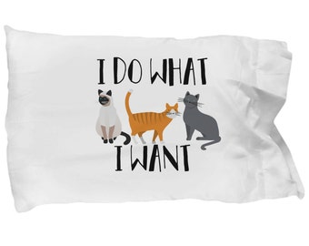 Cat Pillowcase, Cat Lady Pillowcase, Cat Decor, Cat Bedding, Kitten Bedding, Funny Cat Gift, Funny Cat Product