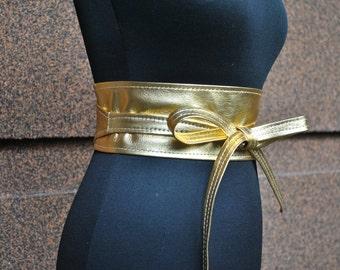 Gold obi belt, Lether obi belt, gold leather obi belt.