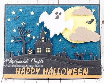 Happy Halloween Ghost Haunted Scene Greeting Card