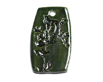 No. 29 - porcelain ceramic pendant 53mm Green Olive - 8741140004122 leaf plant prints