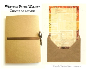 Luxury Letter Writing Paper GIft Set •  Kraft Storage Wallet tied with Ribbon