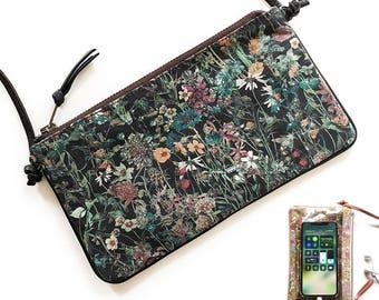Small crossbody phone bag, Liberty of London  Wild flowers (Dark Brown) shoulder bag