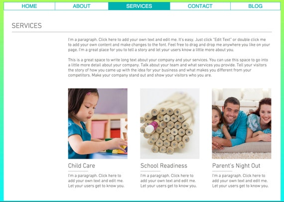 Child Care Website Template built on the WIX Platform - Photography ...
