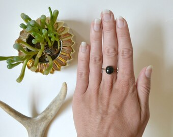 Black Onyx & Copper Ring Size 6