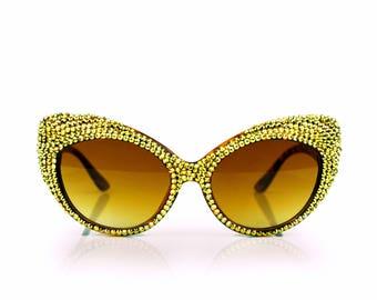 24kt Gold Studded Swarovski Crystal Fashion Cateye Rhinestone Sunglasses