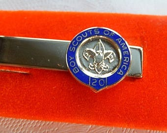 Boy Scout Tie Clasp, Vintage Tie Clasp, BSA 20 Years, Gift for Him