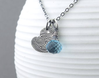 Small Blue Necklace Silver Charm Necklace Sterling Silver Heart Pendant Necklace Gift for Her Boho Necklace Bohemian Jewelry - Solo