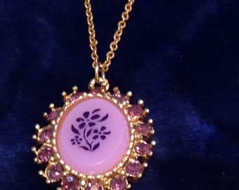 Vintage Amethyst (?) and Gold Tone Floral Necklace