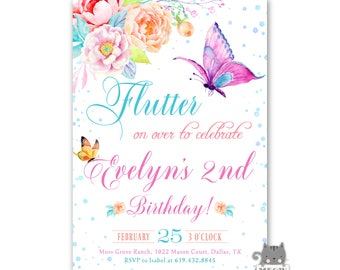 Butterfly Birthday Invitation, Butterfly Invite, Butterfly Invitation for 1st Birthday, 2nd Birthday, 3rd Birthday, Floral, Watercolor, Girl