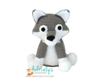 Crochet Wolf- Stuffed Wolf- Wolf Plush- Woodland Animals-Forest Animals-Amigurumi Wolf- Handmade Wolf- Crochet Toy- Made to Order