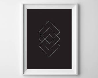 Square Geometric Printable Art, Black Background, 8x10, 4:5 Ratio, Modern Wall Art, Instant Download, Digital Print Printable Art