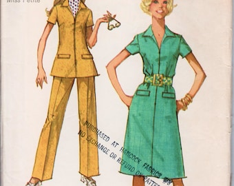 "Zipper Dress Zipper Tunic and Pants 1970s Dress Pattern SIMPLICITY 9326 bust 38"" Petite Dress Pattern Waitress Dress Retro Dress Pattern"