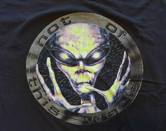 "Vtg 90s Alien T Shirt ""Not Of This World"" X Files style"