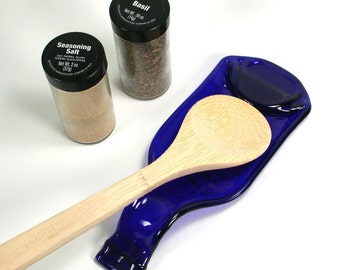 Beer Bottle Spoon Rest or Snack Server - Cobalt Blue - Recycled Eco-Friendly