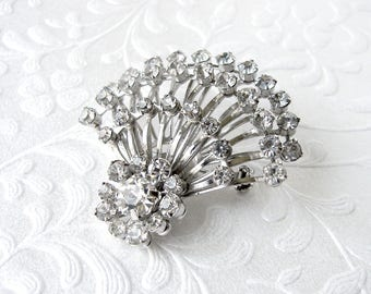 1960s Rhinestone Brooch Spray Flower Bouquet Vintage Costume Jewelry Wedding Gown Sash Pin Bouquet Clip Bridal Ballroom Pageant Formal Prom
