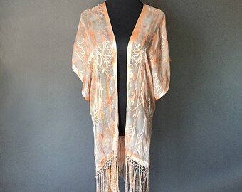 Silk Cut Devore Satin Jacket with fringe, Hand-dyed, Plant-dyed with Red Earth and Avocado