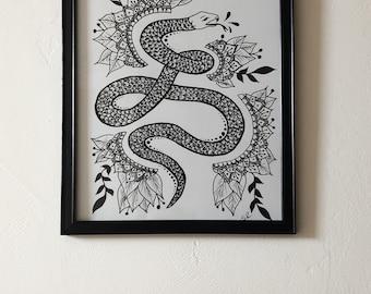 Framed Snake Mandala Print