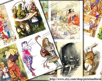 Vintage Alice in Wonderland Clip Art Printable Digital Download