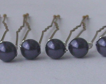 Dark Purple Hair Pins, Wedding Hair Pins, Pearl Bobby Pins, Swarovski Hair Pins, Single Pearl Hair Pins - Set of 6 Hair Pins 5mm