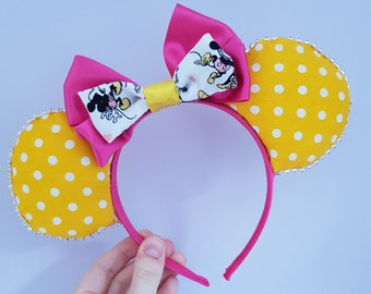 Yellow dapper polka dot vintage-inspired spring Minnie Mouse Ears