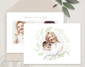 Christmas Card Template - Photo Christmas Card Template, Digital Photoshop Christmas Card Template, Holiday Card Template, PSD Template