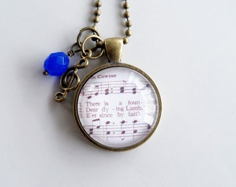 There Is A Fountain Hymn Necklace - William Cowper Jewelry - Inspirational Jewelry - Music Pendant - Church Hymn Jewelry - Custom Necklace