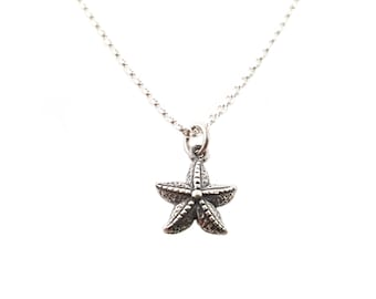 Starfish Charm Sterling Silver Necklace - Inspirational Motivational Necklace / Gift for Her / Simple Jewelry