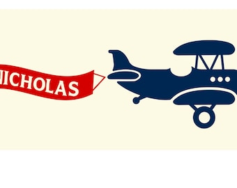BI-PLANE Airplane Vinyl Wall Decal with Custom Personalized Banner Set NK-109