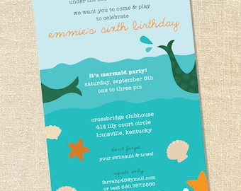Sweet Wishes Under the Sea Mermaid Pool Party Invitations - PRINTED - Digital File Also Available