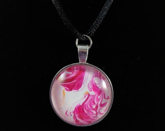 Silver Circle Pendant - Pink and White