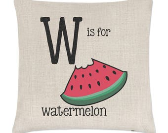 Letter W Is For Watermelon Linen Cushion Cover