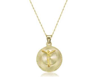 10K Solid Yellow Gold Jesus Round Medal Pendant Singapore Chain Necklace Set - Christ Crucifix Charm