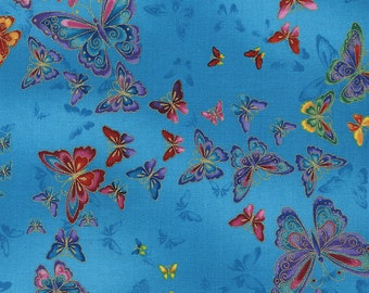 Butterflies Turquoise Tiffany Timeless Treasures Fabric 1 yard
