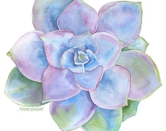 Blue Succulent Watercolor Painting Greeting Card - 5 x 7
