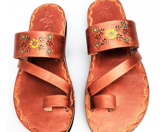 Women's Handmade Mexican Leather Sandal Huaraches Copper   CZ08cpr